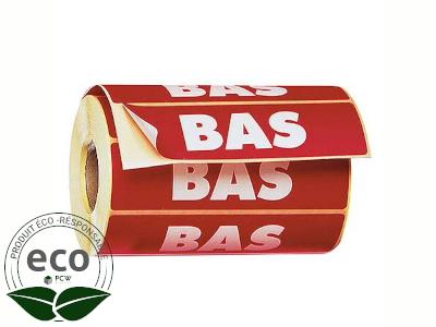 """Étiquette Auto-adhésive """"BAS"""" 120 x 50 Mm"""