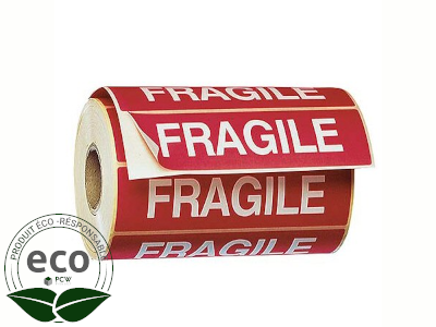 """Étiquette Auto-adhésive """"FRAGILE"""" 120 x 50 Mm"""