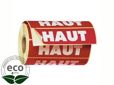 """Étiquette Auto-adhésive """"HAUT"""" 120 x 50 Mm"""