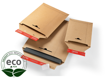 Pochette Adhésive Carton Rigide Micro Cannelure Kraft Colompac 235 x 340 Mm