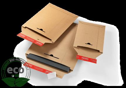Pochette Adhésive Carton Rigide Micro Cannelure Kraft Colompac 340 x 500 Mm