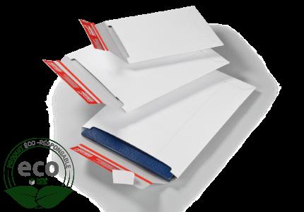 Pochette Carton Compact avec Fermeture Adhesive Blanche 245 x 345 Mm