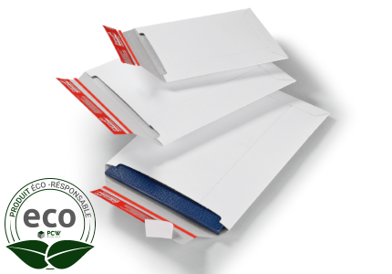 Pochette Carton Compact avec Fermeture Adhesive Blanche 310 x 445 Mm
