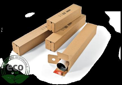 Tube Carton Carré Avec Fermeture Auto Adhésive 108 x 108 x 705 Mm PC20 Kraft