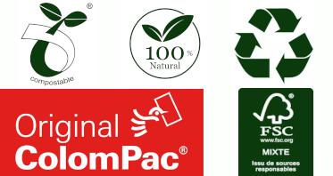 Les Pochettes en Carton Compact de Colompac sont 100% Recyclable, Biodégradable et Eco-Responsable