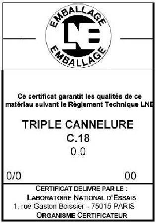 Estampille LNE triple cannelure