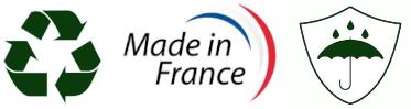 Fabriqué en France, Recyclable et Imperméable