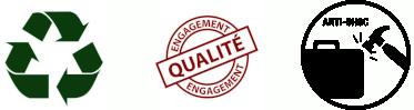 Recyclable, Engagement Qualité et Anti-choc