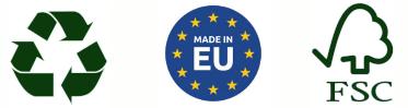Recyclable, Fabriqué en Europe et Certifié FSC