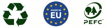 Recyclable, Fabriqué en Europe et Certifié PEFC