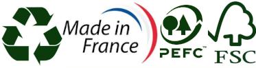 Recyclable, Fabriqué en France, Certifié FSC et PEFC