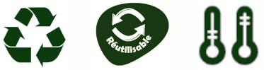 Recyclable, Réutilisable, Résiste aux Grandes Variations de Température